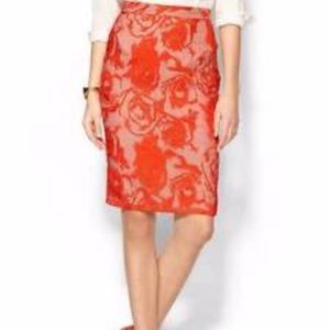 Krisa embroidered floral pencil skirt bright